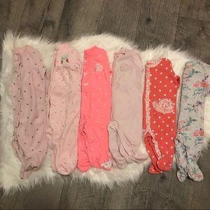 Bundle of carters baby girl sleepers 3 months